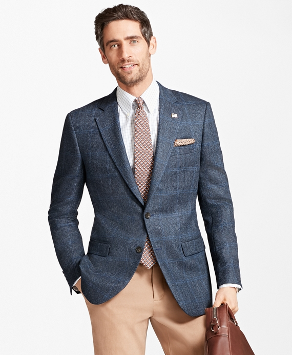 Madison Fit Saxxon™ Wool Brokenbone with Deco Sport Coat Blue