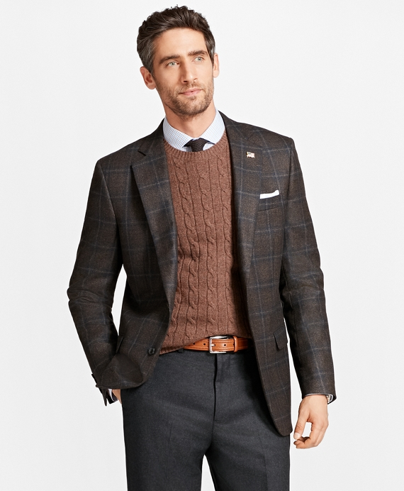 Madison Fit Saxxon Wool Plaid Sport Coat Brown