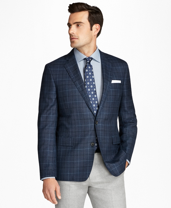 Regent Fit Saxxon™ Wool Plaid with Deco Sport Coat Navy