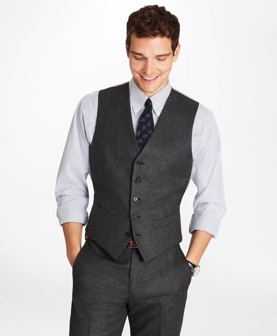 Wool Flannel Vest Charcoal
