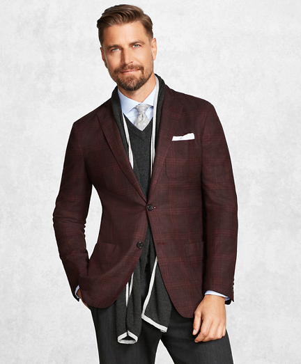 Golden Fleece® BrooksCloud™ Burgundy Plaid Sport Coat
