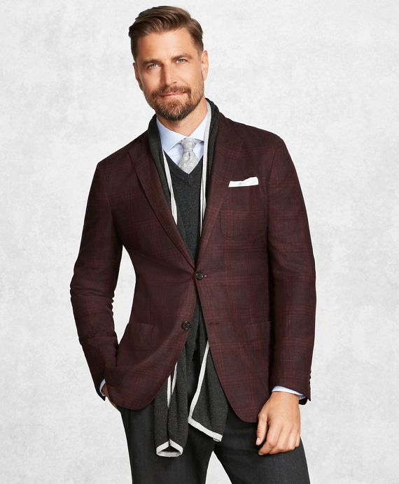 Golden Fleece® BrooksCloud™ Burgundy Plaid Sport Coat Burgundy