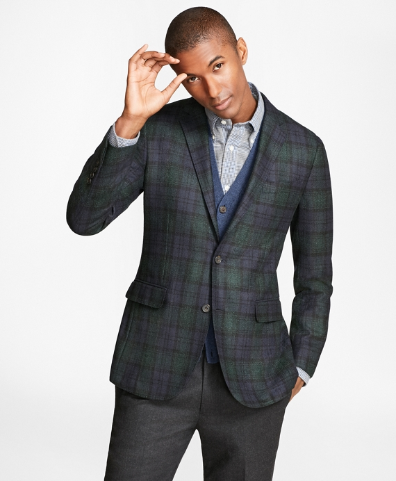 Milano Fit Black Watch Sport Coat Navy-Green