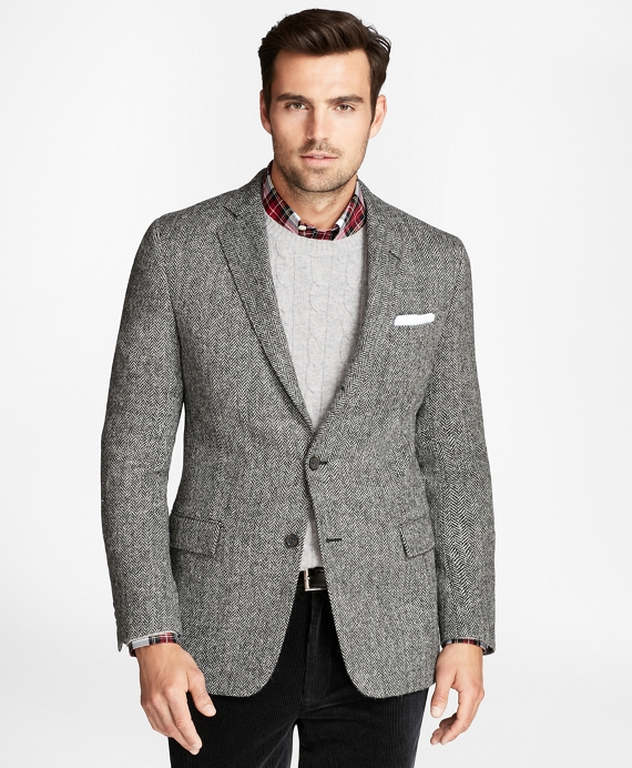 Regent Fit BrooksTweed® Herringbone Sport Coat Black-White