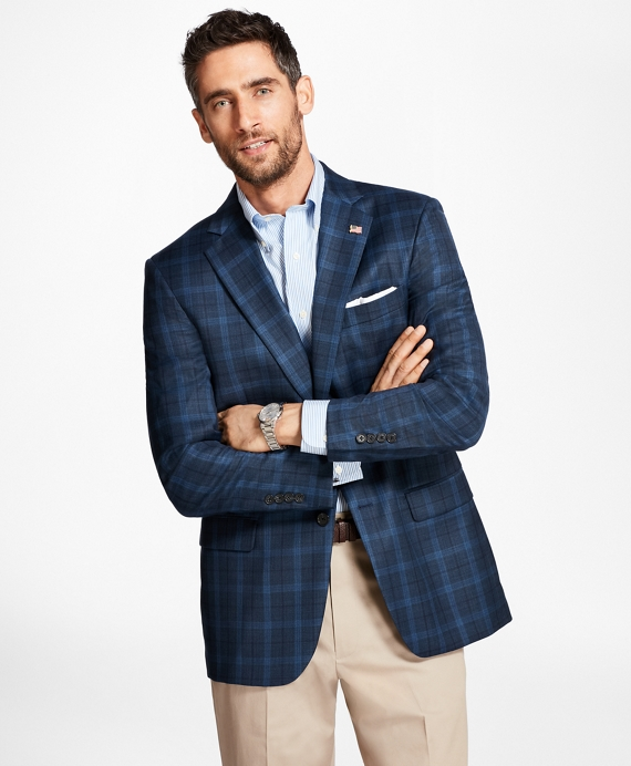 Madison Fit Saxxon™ Wool Windowpane Sport Coat Blue