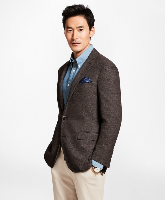 Regent Fit Textured Sport Coat Brown
