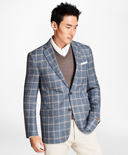 Regent Fit Light-Blue with Tan Windowpane Sport Coat