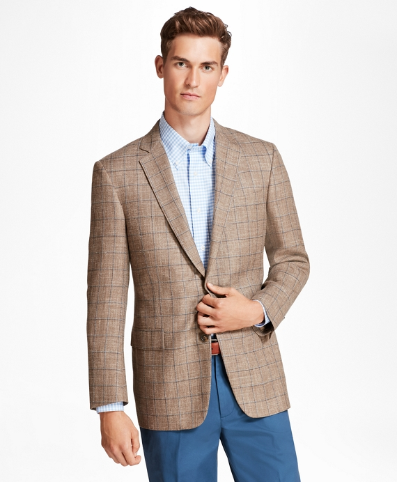 Regent Fit Tan with Blue Windowpane Sport Coat Tan-Blue