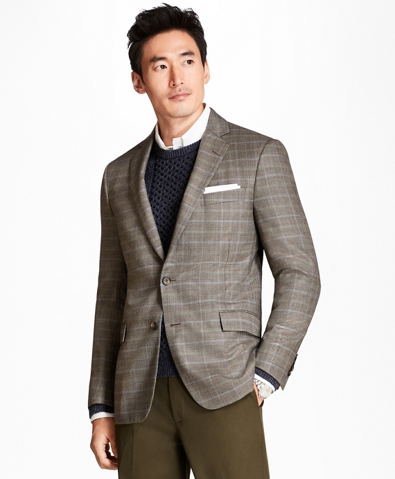 Regent Fit Tic with Double-Windowpane Sport Coat Brown