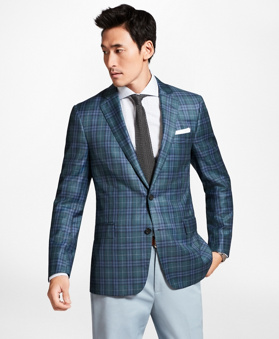 Regent Fit Teal Plaid Sport Coat