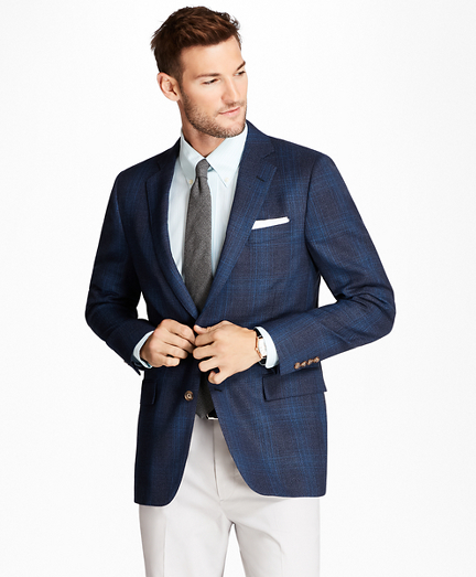 Regent Fit Plaid Hopsack Sport Coat