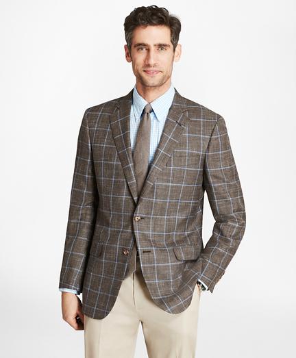 Madison Fit Saxxon™ Wool Brown with Blue Windowpane Sport Coat