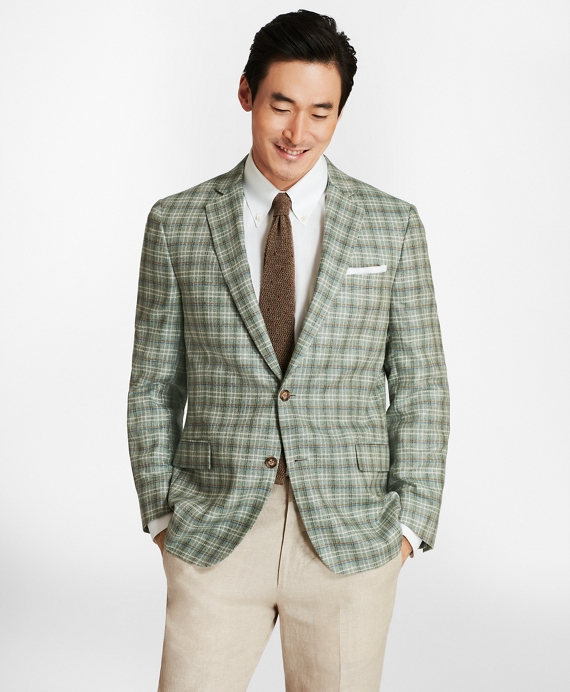 Regent Fit Plaid with Multi-Windowpane Sport Coat Green
