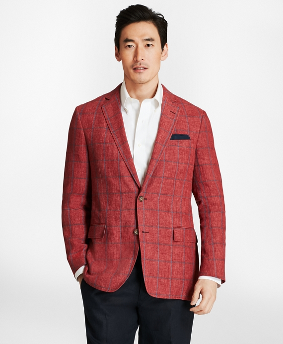 Regent Fit Windowpane Linen Sport Coat Red-Blue