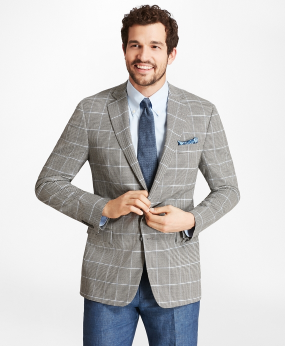 Regent Fit BrooksCool® Check with Deco Sport Coat Black-White