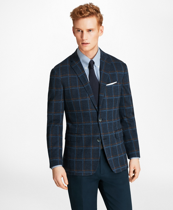 Milano Fit Windowpane Knit Sport Coat Navy-Blue