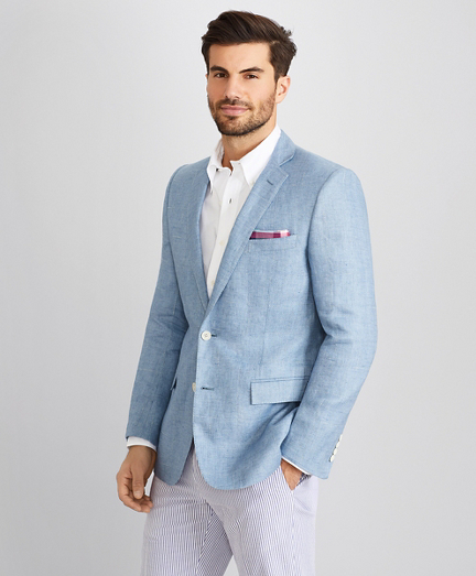 Regent Fit Windowpane Linen Sport Coat