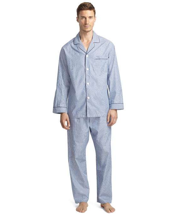 Broadcloth Ground Stripe Pajamas Blue