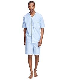 Split Check Pajama Set with Shorts