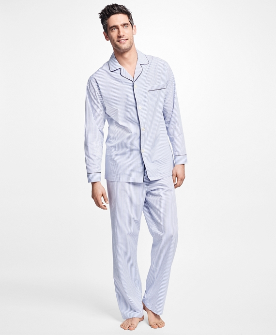 Alternating Framed Stripe Pajamas Blue