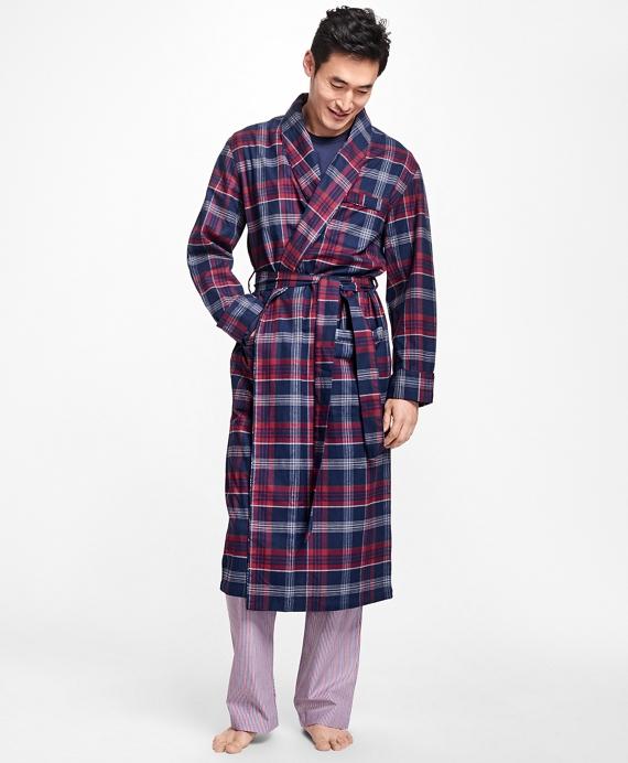 Three-Color Plaid Flannel Robe Blue