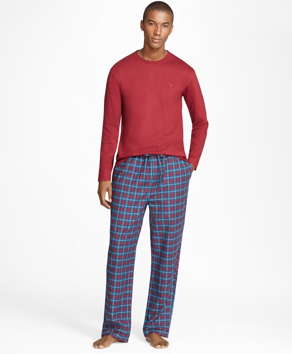 Alternating Plaid Flannel Lounge Set