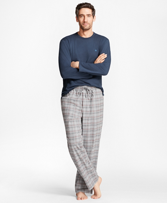 Windowpane Flannel Lounge Set Grey