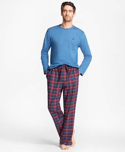 Outlined Plaid Flannel Lounge Set
