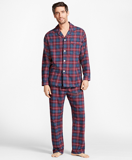 Outlined Plaid Flannel Pajamas