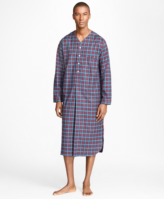 Alternating Plaid Nightshirt Navy