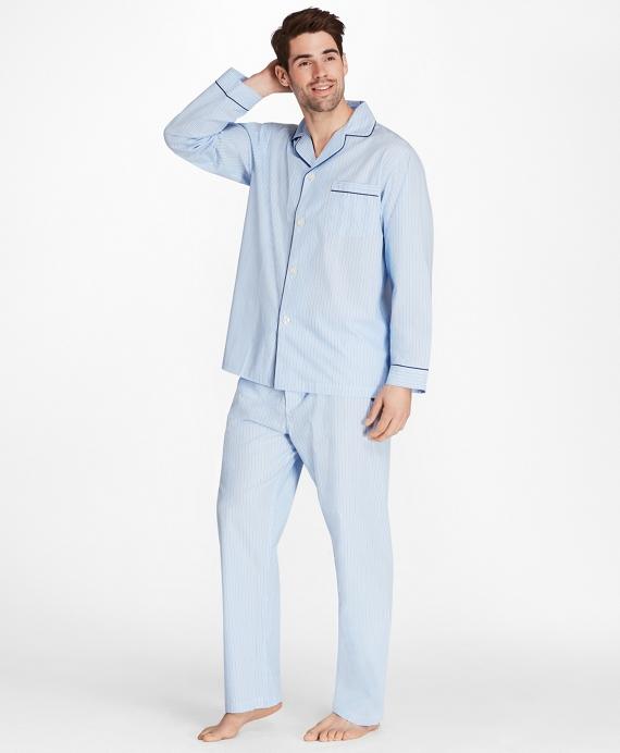 Alternating Split Stripe Pajamas Blue