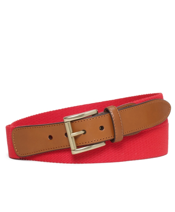 Canvas and Leather Belt Red