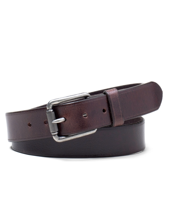 Distressed Roller Buckle Belt Brown