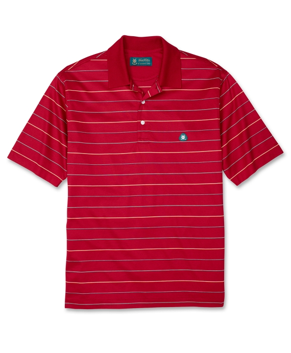 St Andrews Links Fine Stripe Lisle Polo Shirt Chili Pepper Multi