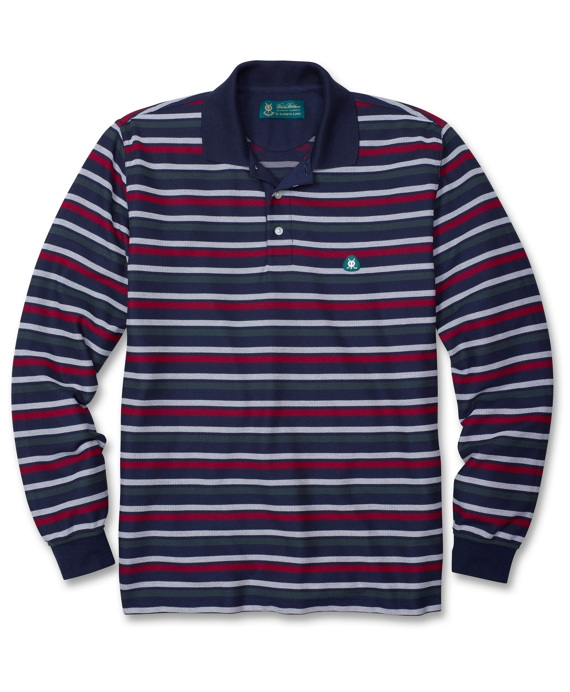 St Andrews Links Oxford Stripe Pique Polo Navy