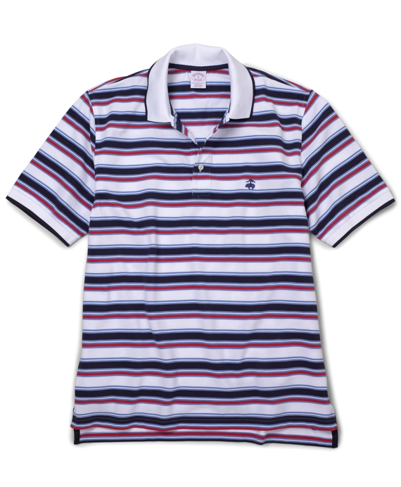 Golden Fleece® Medium Spaced Stripe Polo Shirt White Multi