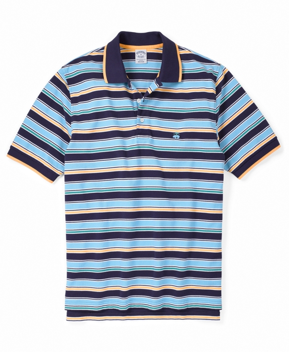 Golden Fleece® Slim Fit Medium Alternating Stripe Pique Polo Blue Multi