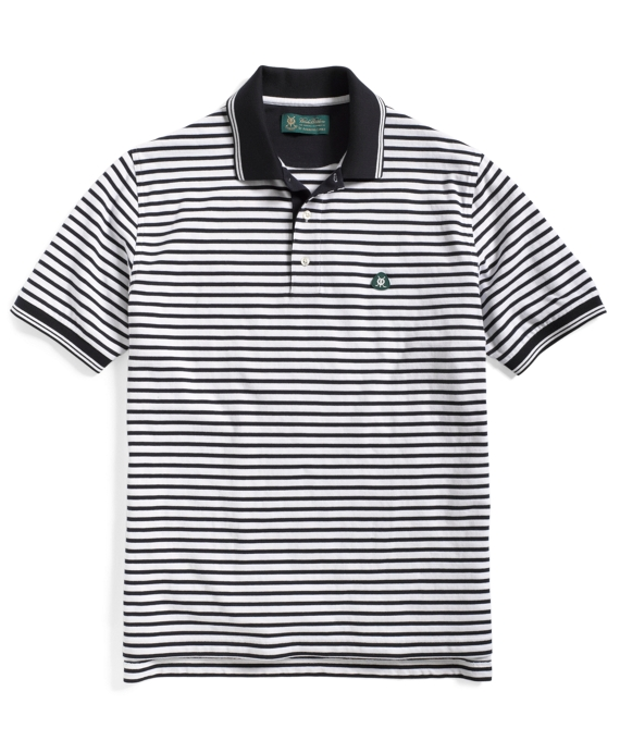 St Andrews Feed Stripe Polo Shirt White-Navy