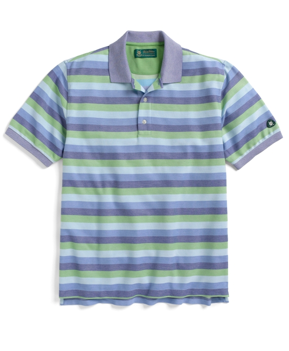 St Andrews Links Multi Oxford Stripe Polo Shirt Green Multi