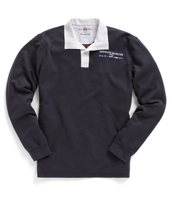 ProSport™ Long-Sleeve Navigation Polo Shirt Navy Multi