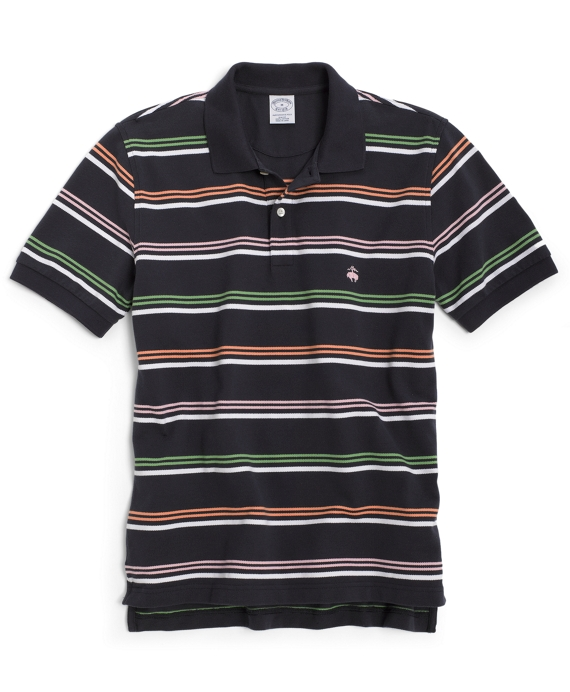 Golden Fleece® Slim Fit Multi Wide Bar Stripe Performance Polo Navy Multi