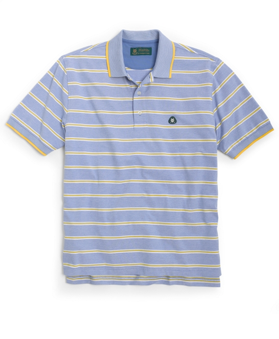 St Andrews Links Alternating Track Feed Stripe Polo Blue Multi