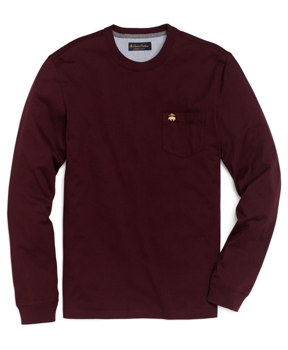 Long-Sleeve Golden Fleece® Pocket Tee Shirt Wine