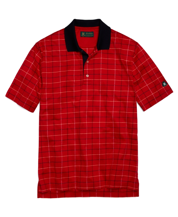 St Andrews Links Windowpane Polo Shirt Red