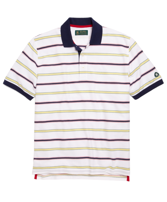 St Andrews Links Multistripe Polo Shirt White