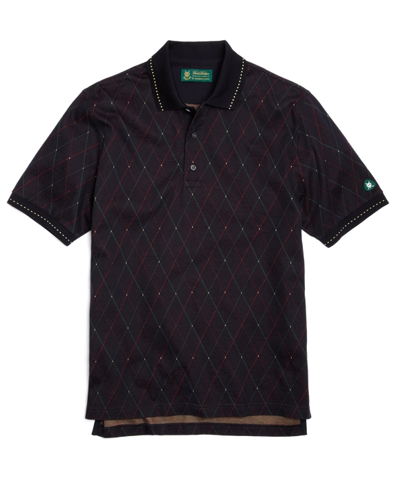 St Andrews Links Argyle Polo Shirt Navy