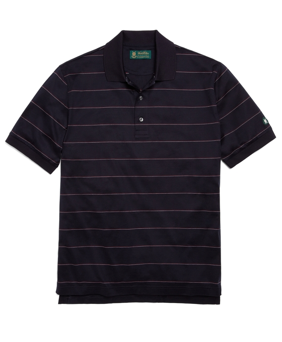 St Andrews Links Stripe Polo Shirt Navy