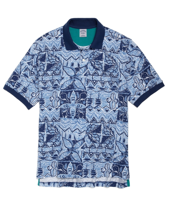 Slim Fit Tribal Print Polo Blue
