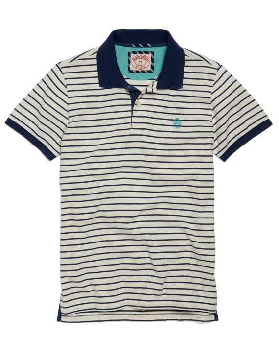 Striped Jersey Polo White-Blue