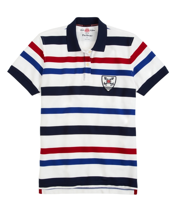 Prosport® Multistripe Sailing Polo Shirt White Multi